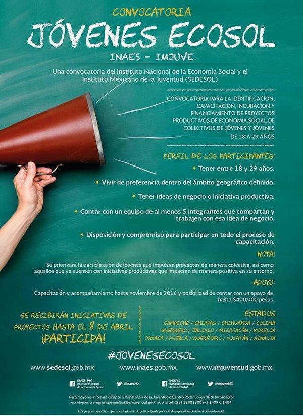 Convocatoria Jóvenes Ecosol Emprendimiento Social Mexico